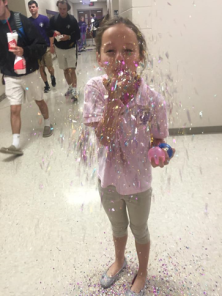 Second grader, Addison G, enjoys the pounds of glitter. PC: T Clark